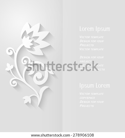 Brochure design with copyspace and abstract paper flower with soft shadow - stock vector