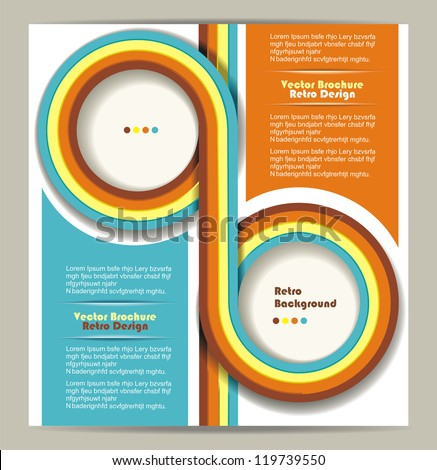 Brochure design with grungy retro background - stock vector