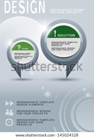 Brochure design with two round infographic elements, eps10 vector background