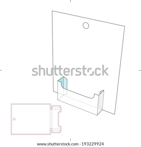 Brochure Display Stand with Die Cut Layout - stock vector