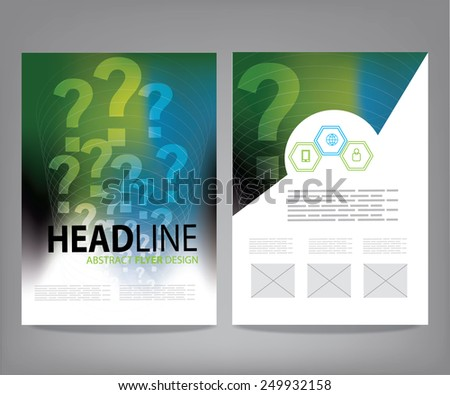 Brochure, flyer, cover vector design template with question mark - stock vector