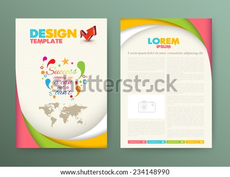 Brochure Flyer design Layout template with success comes in a can not a can't.   - stock vector