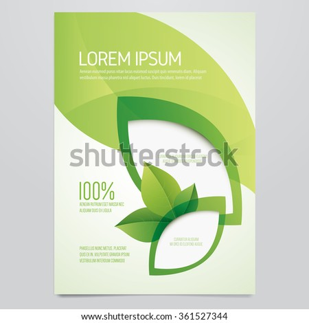 Brochure, flyer, poster, magazine cover vector template. Modern green leaf, environment design. - stock vector