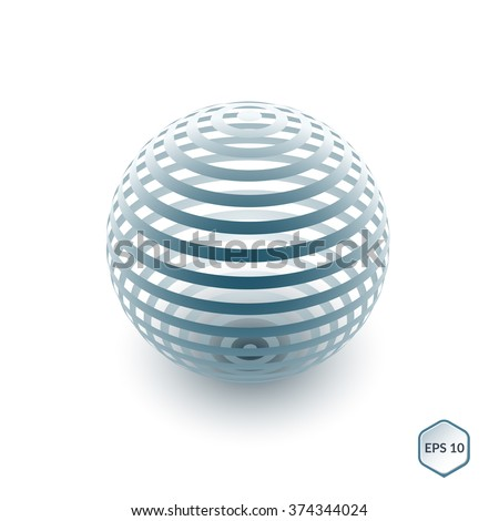 Brochure, flyer with 3D sphere of geometric lines shapes. Vector illustration. - stock vector