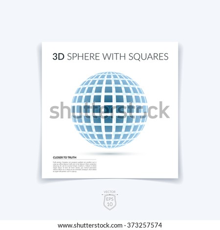 Brochure, flyer with 3D sphere of geometric square shapes. Vector illustration. - stock vector