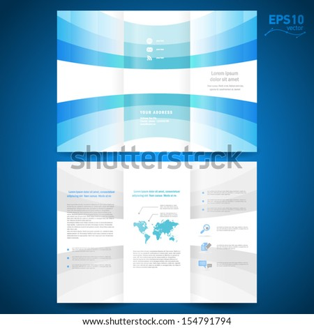 brochure folder leaflet  geometric abstract element perspective curve bend line blue white background - stock vector