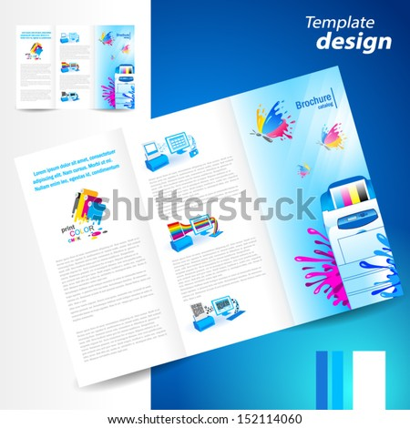 brochure folder leaflet printer cmyk prepress polygraphy ink splash - stock vector