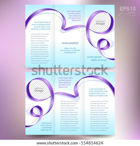 brochure folder leaflet ribbon element band wave color violet line blue background, block for images - stock vector