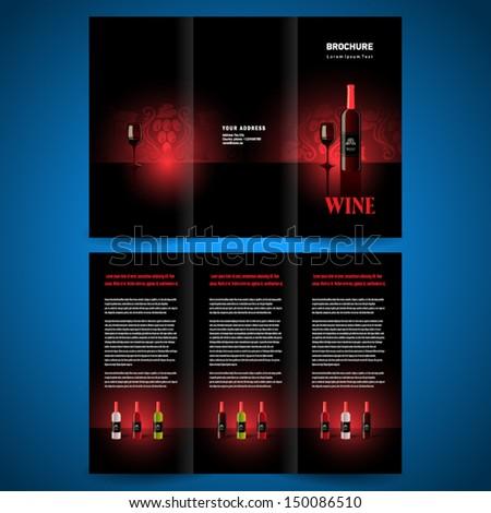 brochure folder leaflet wine red vine - stock vector