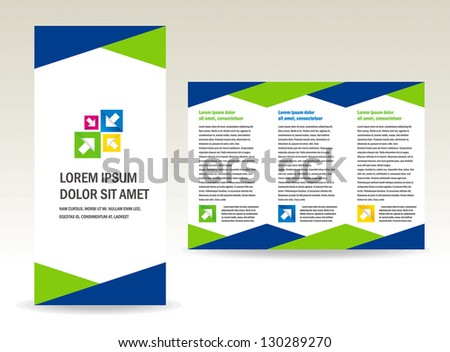 brochure folder triangles design / cmyk - stock vector