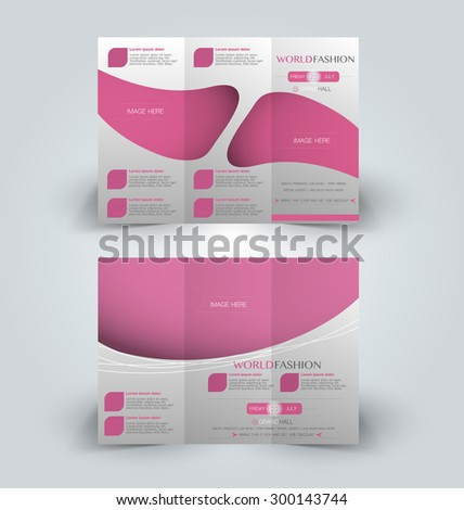 Brochure mock up design template for business, education, advertisement. Trifold booklet editable printable vector illustration. Pink color. - stock vector