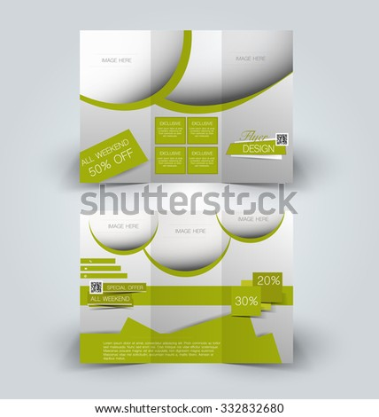 Brochure mock up design template for business, education, advertisement. Trifold booklet editable printable vector illustration. Green color. - stock vector