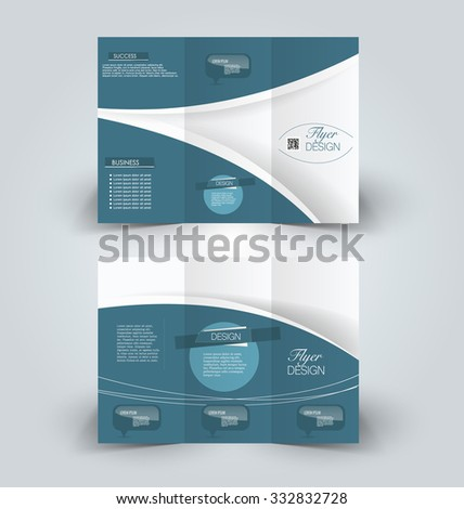 Brochure mock up design template for business, education, advertisement. Trifold booklet editable printable vector illustration. Blue color. - stock vector