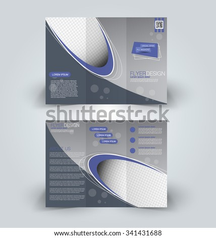 Brochure mock up design template for business, education, advertisement. Trifold booklet editable printable vector illustration. Blue color - stock vector