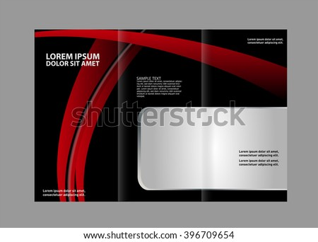 Vector Red Black Trifold Brochure Design Stock Vector 396716689