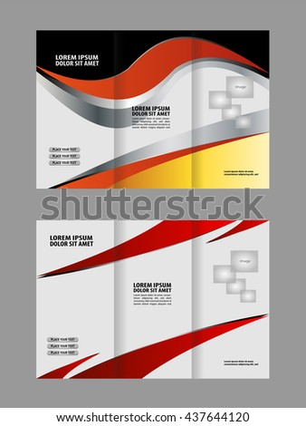 Brochure mock up design template for business, education, advertisement. Trifold booklet editable printable vector illustration. Red color