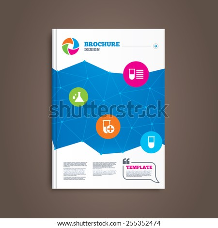 Brochure or flyer design. Chemistry bulb with drops icon. Medical test signs. Laboratory equipment symbols. Book template. Vector - stock vector
