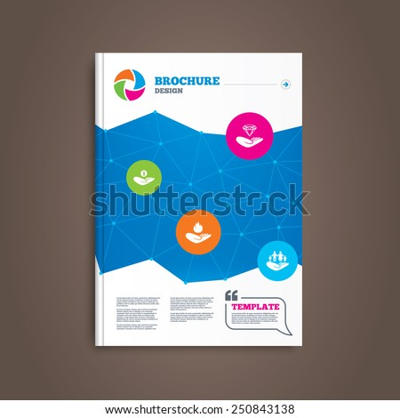 Brochure or flyer design. Helping hands icons. Financial money savings, family life insurance symbols. Diamond brilliant sign. Fire protection. Book template. Vector - stock vector