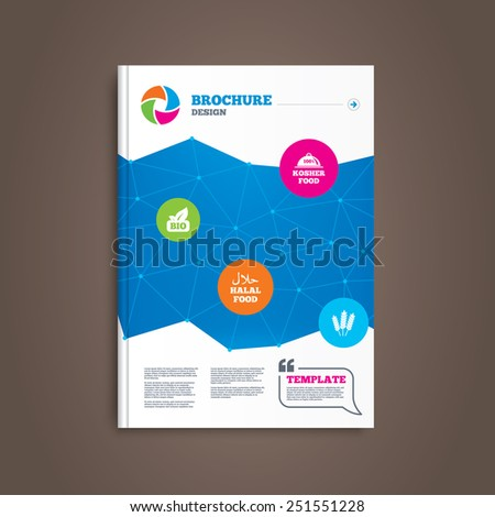 Brochure or flyer design. Natural Bio food icons. Halal and 100% Kosher signs. Gluten free agricultural symbol. Book template. Vector - stock vector