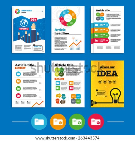 Brochure or flyers design. Accounting binders icons. Add or remove document folder symbol. Bookkeeping management with checkbox. Business poll results infographics. Vector - stock vector