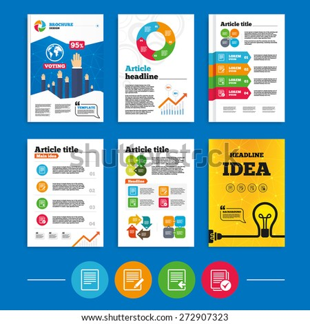 brochure flyers design file document icons stock vector 272907323