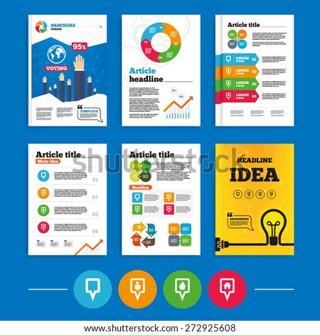 Brochure or flyers design. Map square pointer icons. Home, food and user location symbols. Restaurant and cupcake signs. You are here. Business poll results infographics. Vector - stock vector