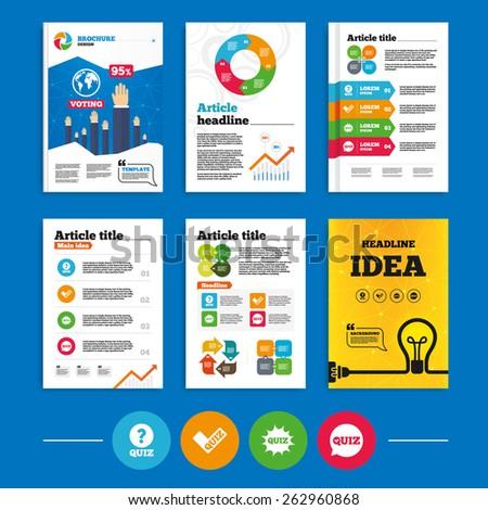 Brochure or flyers design. Quiz icons. Speech bubble with check mark symbol. Explosion boom sign. Business poll results infographics. Vector - stock vector