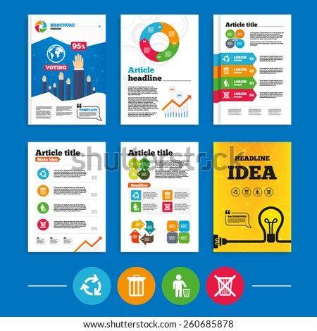 Brochure or flyers design. Recycle bin icons. Reuse or reduce symbols. Human throw in trash can. Recycling signs. Business poll results infographics. Vector - stock vector