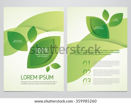 Brochure, poster, annual report, flyer, magazine vector template. Modern green leaf, environment design. - stock vector