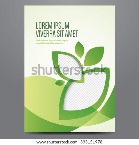 Brochure, poster, annual report, magazine cover, eco flyer vector template. Modern green corporate design. - stock vector