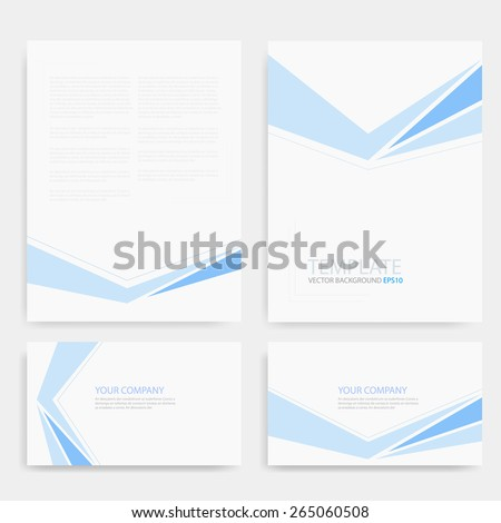 Brochure template blue line vector background and name card banner with space for text and message modern artwork design - stock vector