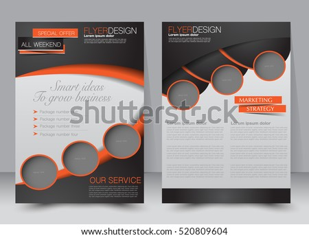 Brochure template. Business flyer. Annual report cover. Editable A4 poster for design, education, presentation, website, magazine page. Black and orange color.