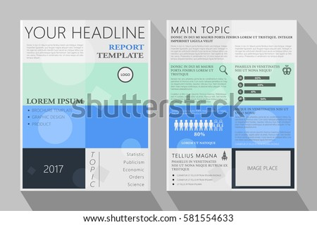 Brochure Template Design. Annual Report Layout For Statistic Economic And  Science Topics