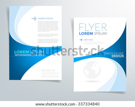 Brochure template flyer background for business design in A4 size , blue curve line element with white space, Vector EPS10 - stock vector