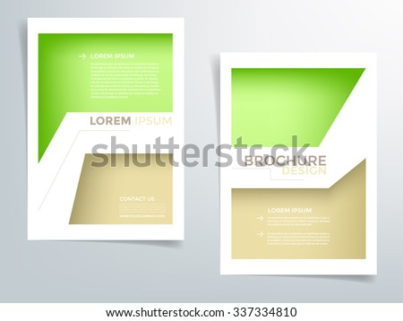 Brochure template flyer background for business design in A4 size , green and brown element with white space, Vector EPS10 - stock vector