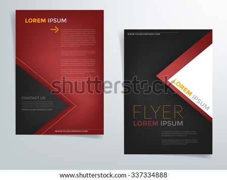 Brochure template flyer background for business design in A4 size , red and black element with triangle , Vector EPS10 - stock vector