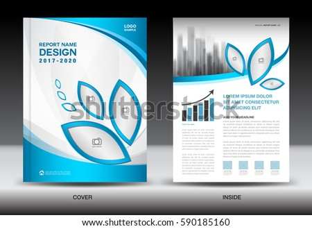 Brochure Template Layout Blue Cover Design Stock Vector 590185229