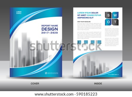 Brochure Template Layout Blue Cover Design Stock Vector 590185223