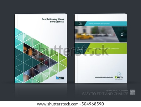 Brochure template layout, cover design annual report, magazine, flyer in A4 with polygonal elements, diagonal, triangles, rectangular for business, technology. Abstract vector design set.