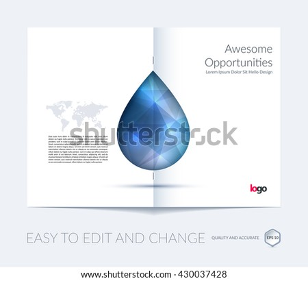 water brochure template - water drops vector ecology background leaflet stock vector