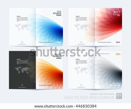 Brochure template layout, cover design annual report, magazine, flyer or booklet in A4 with colorful soft wave flower shapes for business and beauty template with beautiful overlap effect. Vector set. - stock vector