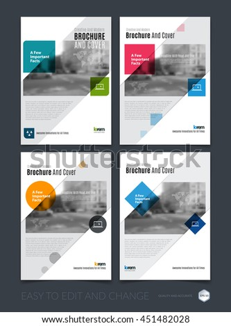 Brochure template layout, cover design annual report, magazine, flyer or leaflet in A4 with colourful squares, rectangles and overlap effect for business with industrial, modern concept. Vector set. - stock vector