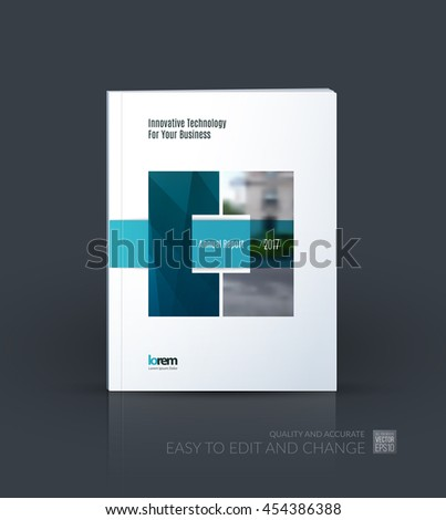 Brochure template layout, cover design annual report, magazine, flyer or leaflet in A4 with blue square with overlap effect for business with industrial and modern concept. Vector. - stock vector
