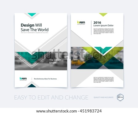Brochure template layout, cover design annual report, magazine, flyer or leaflet in A4 with green arrows, triangles with overlap effect for business with industrial and modern concept. Vector set. - stock vector