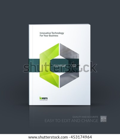 Brochure template layout, cover design annual report, magazine, flyer or leaflet in A4 with green hexagon with overlap effect for business with industrial and modern concept. Vector. - stock vector