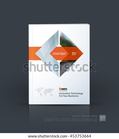 Brochure template layout, cover design annual report, magazine, flyer or leaflet in A4 with grey square arrow with overlap effect for business with industrial and modern concept. Vector. - stock vector