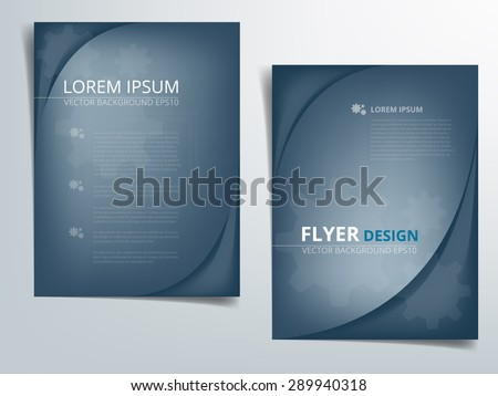 Brochure template vector background flyer design with blue curve concept elements earth tone color idea and sample text for text and message brochure artwork design in A4 size - stock vector