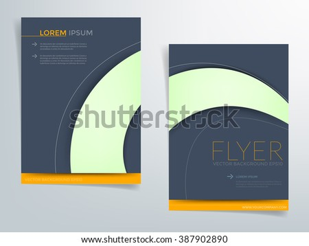 Brochure template vector background flyer design with green curve and blue dark space concept elements earth tone color idea and sample text for text and message brochure artwork design in A4 size - stock vector