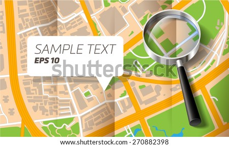 Brochure with folds city map with a magnifying glass - stock vector