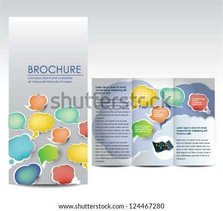 Brochure with speech bubbles - stock vector